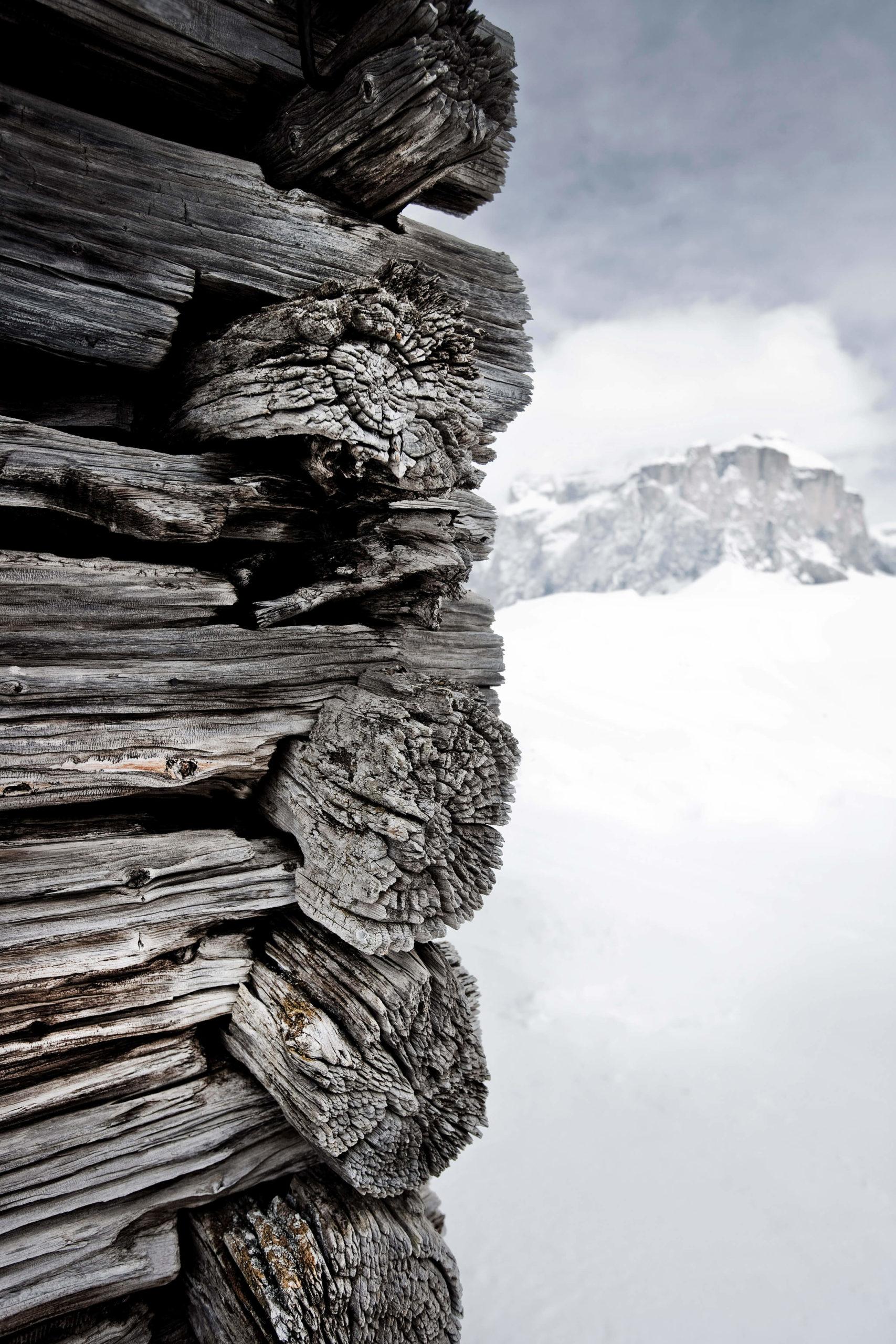 Snowbound shepherd huts, Dolomites