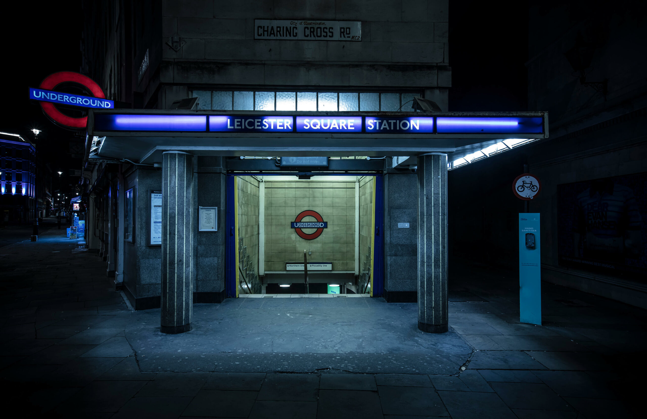 A deserted Leicester Square underground station