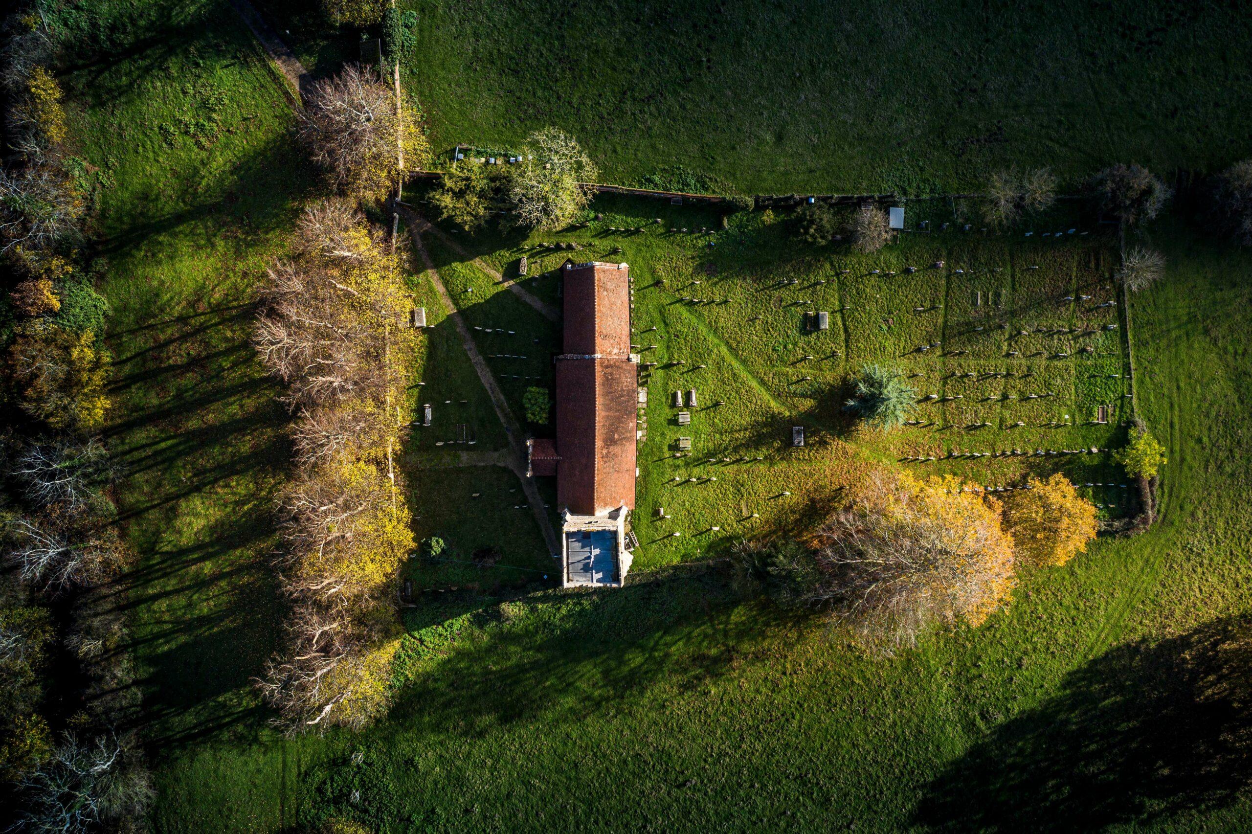 Aerial view of Bealings Church, Suffolk